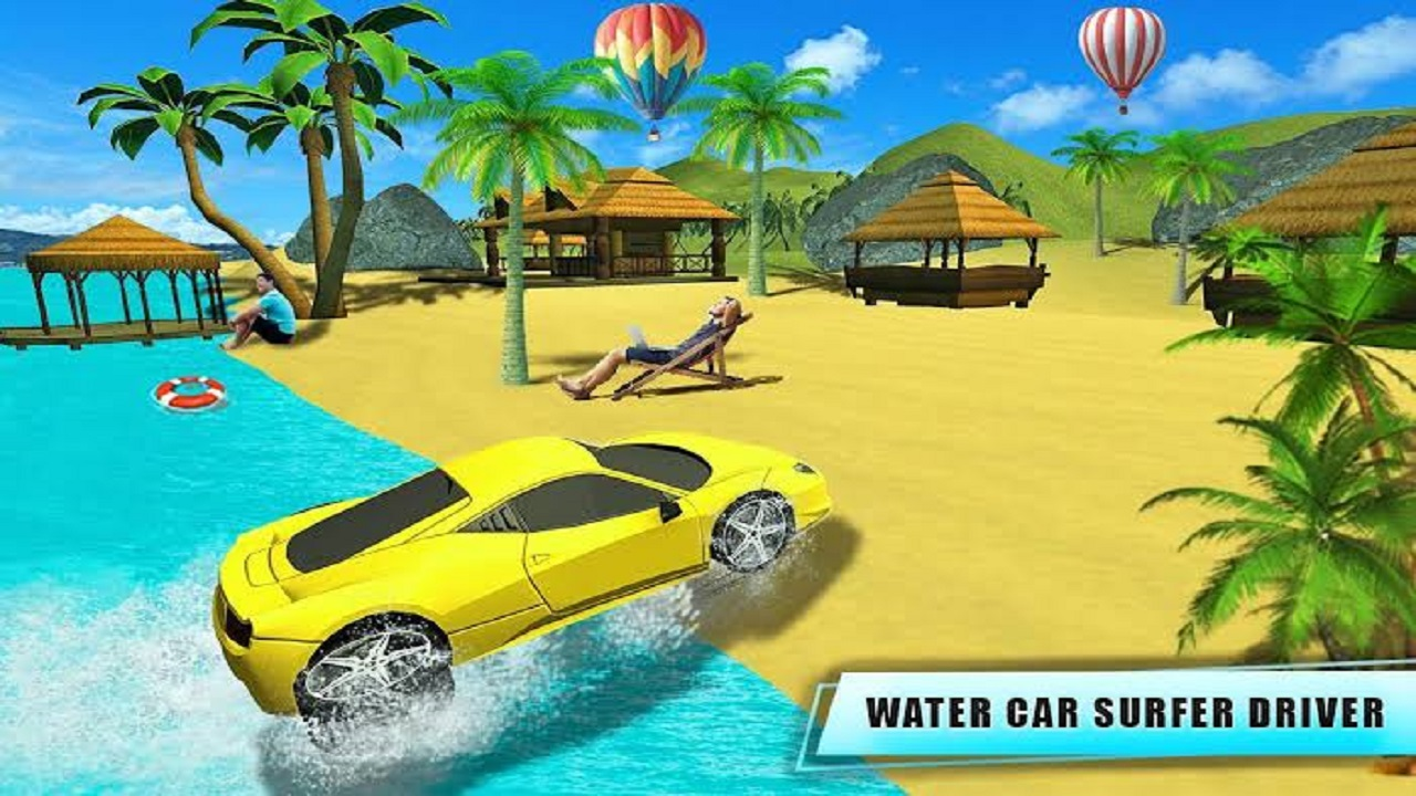 Water Surfer Car Floating Beach Drive Game